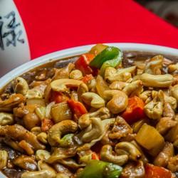 Frango xadrez e arroz integral